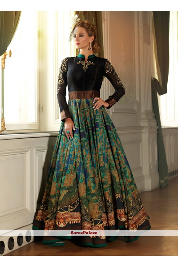 Party Wear Black Green Silk Anarkali Suit  - 5002