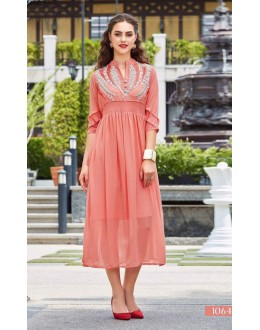 Casual Wear Readymade Peach Georgette Kurti - Sparrow1064