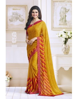 Prachi Desai In Yellow Georgette Saree  - Starwalk2117614