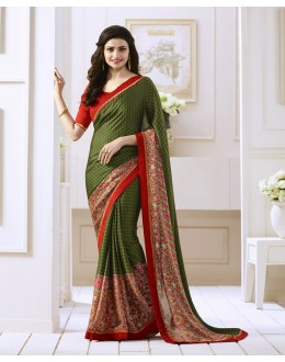 Prachi Desai In Green Georgette Saree  - Starwalk2117615