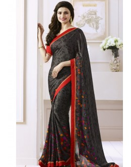 Prachi Desai In Black Georgette Saree  - Starwalk2117616