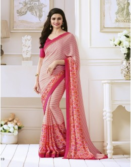 Prachi Desai In Peach Georgette Saree  - Starwalk2117619