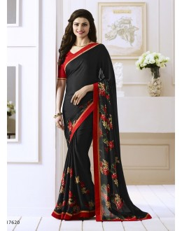 Prachi Desai In Black Georgette Saree  - Starwalk2117620