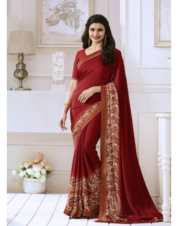 Prachi Desai In Maroon Georgette Saree  - Starwalk2117621