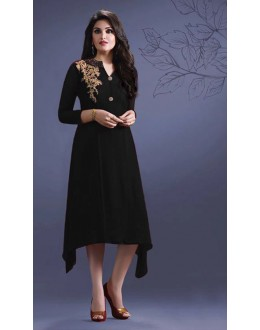 Ethnic Wear Readymade Black Georgette Kurti -Suhani33454-B