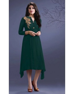 Party Wear Readymade Green Georgette Kurti -Suhani33454-C