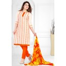 Designer Cream & Orange Salwar Suit - Sultan1006
