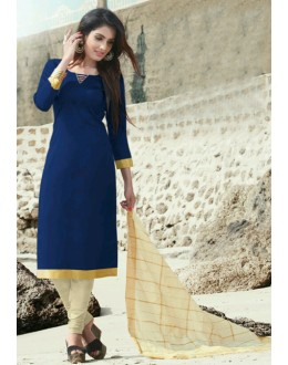 Festival Wear Blue Cotton Satin Salwar Suit  - SC016Blue