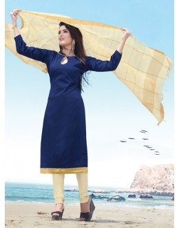 Office Wear Black Cotton Satin Salwar Suit  - SC018Blue