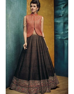 Ethnic Wear Brown Banglori Silk Crop Top Lehenga - VrundaZC-FP05