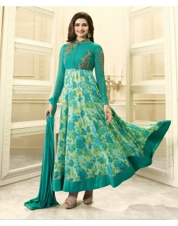 Prachi Desai In Green Georgette Anarkali Suit  - Vinay284746