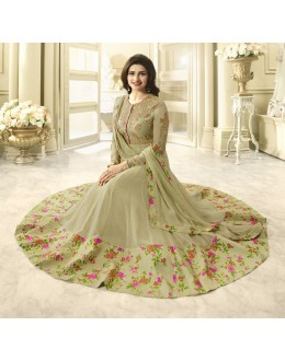 Prachi Desai In Tea Green Georgette Anarkali Suit  - Vinay284747