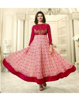 Prachi Desai In Red Georgette Anarkali Suit  - Vinay284748
