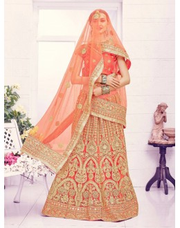 Wedding Wear Orange Net Lehenga Choli - Viwah1001