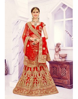 Bridal Wear Red Net Lehenga Choli - Viwah1004
