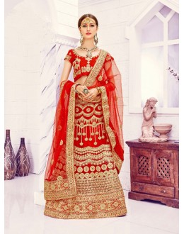 Red Colour Net Embroidery Lehenga Choli - Viwah1005