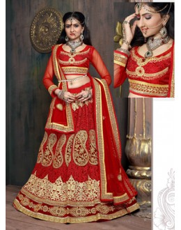 Wedding Wear Red Satin Net Lehenga Choli - ZARAA532