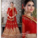 Wedding Wear Red Satin Net Lehenga Choli - ZARAA539