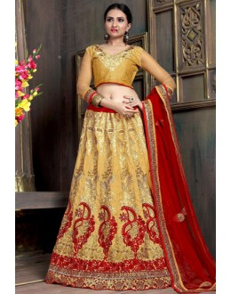 Traditional Golden & Red Satin Net Lehenga Choli - ZARAA540