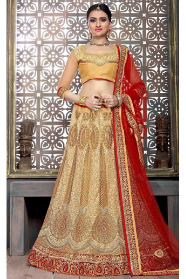 Ethnic Wear Golden & Red Satin Net Lehenga Choli - ZARAA542