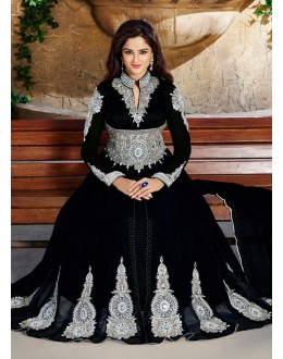Party Wear Black Net Anarkali Suit  - ZikkraBlack