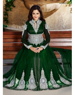 Wedding Wear Green Net Anarkali Suit  - ZikkraGreen