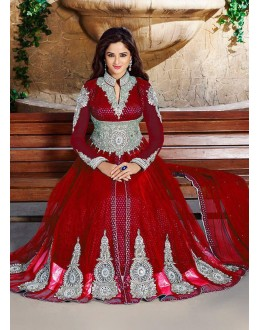 Festival Wear Red Net Anarkali Suit  - ZikkraRed