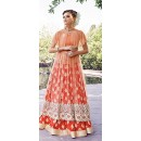 Designer Orange Anarkali Salwar Suit - ZoyaCrystal16004