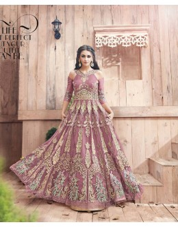 Wedding Wear Paper Pink Havy Net Anarkali Suit - ZoyaEngaged21002