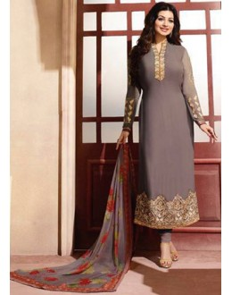 Ayesha Takia In Grey Georgette Salwar Suit - ZubedaStraight12504