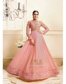 Party Wear Peach Georgette Anarkali Suit - Zubeda452