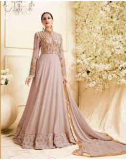 Party  Wear Dark Peach Georgette Anarkali Suit - Zubeda455