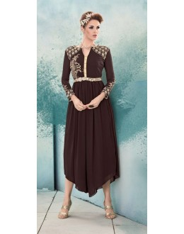 Party Wear Readymade Brown Georgette Kurti -Sasya8002