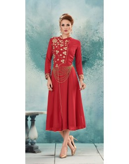 Casual Wear Readymade Red Georgette Kurti -Sasya8003