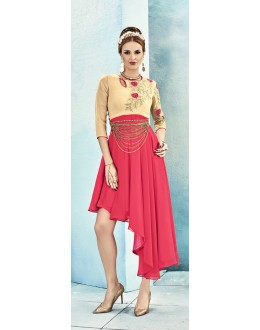 Wedding Wear Readymade Pink Cream Georgette Kurti - Sasya8007