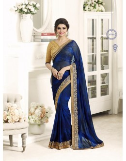 Party Wear Blue Georgette Saree  - Sheesha17701