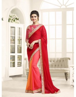 Traditional Wear Red Chiffon Saree  - Sheesha17702