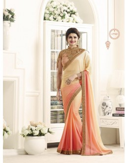 Wedding Wear Cream Georgette Saree  - Sheesha17705
