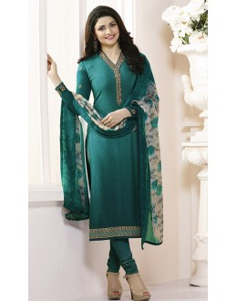 Prachi Desai In Green French Creap Salwar Suit - Silkina5371
