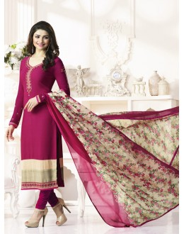 Prachi Desai In Rani Pink French Creap Salwar Suit - Silkina5372