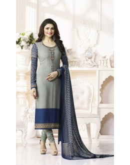 Prachi Desai In Grey French Creap Salwar Suit - Silkina5373