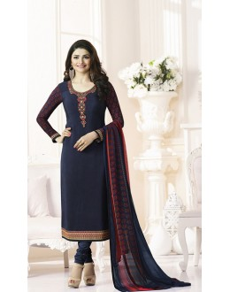 Prachi Desai In Blue French Creap Salwar Suit - Silkina5375