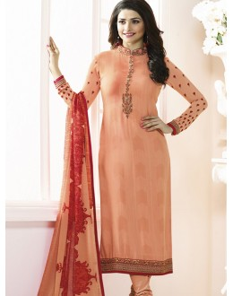 Prachi Desai In Orange French Creap Salwar Suit - Silkina5378