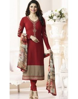 Prachi Desai In Maroon French Creap Salwar Suit - Silkina5380