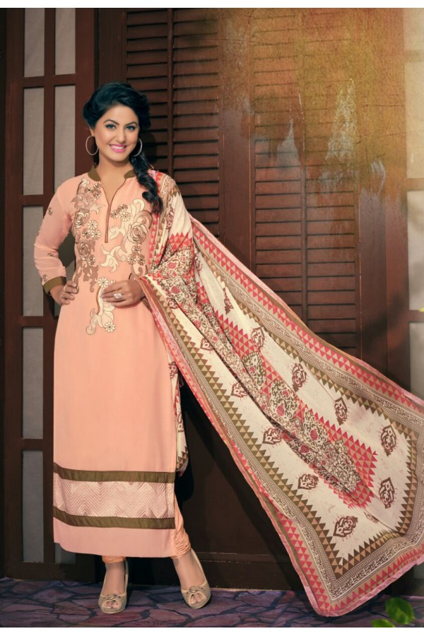 Party wear Peach Georgette Salwar suit - 2006