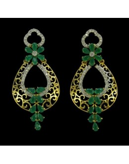 Party Wear Indian CZ Earrings - 91325