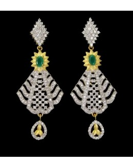 Fancy Indian CZ Earrings - 91328