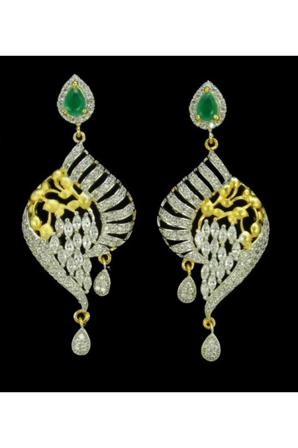 Designer Indian CZ Earrings - 91341