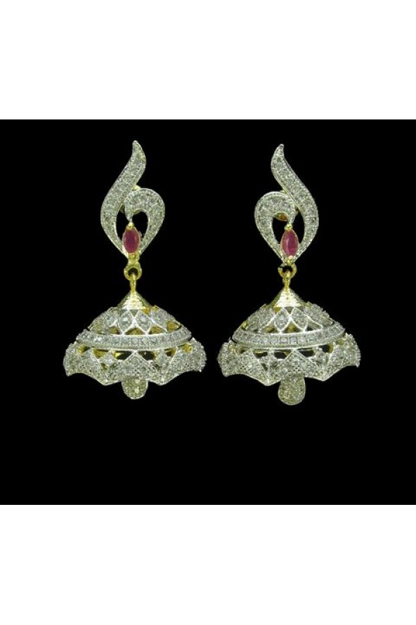 Festival Wear Indian CZ Jhumka - 91366