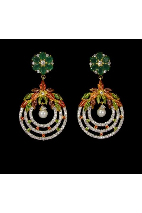 Ethnic Wear Indian CZ Earrings- 91462